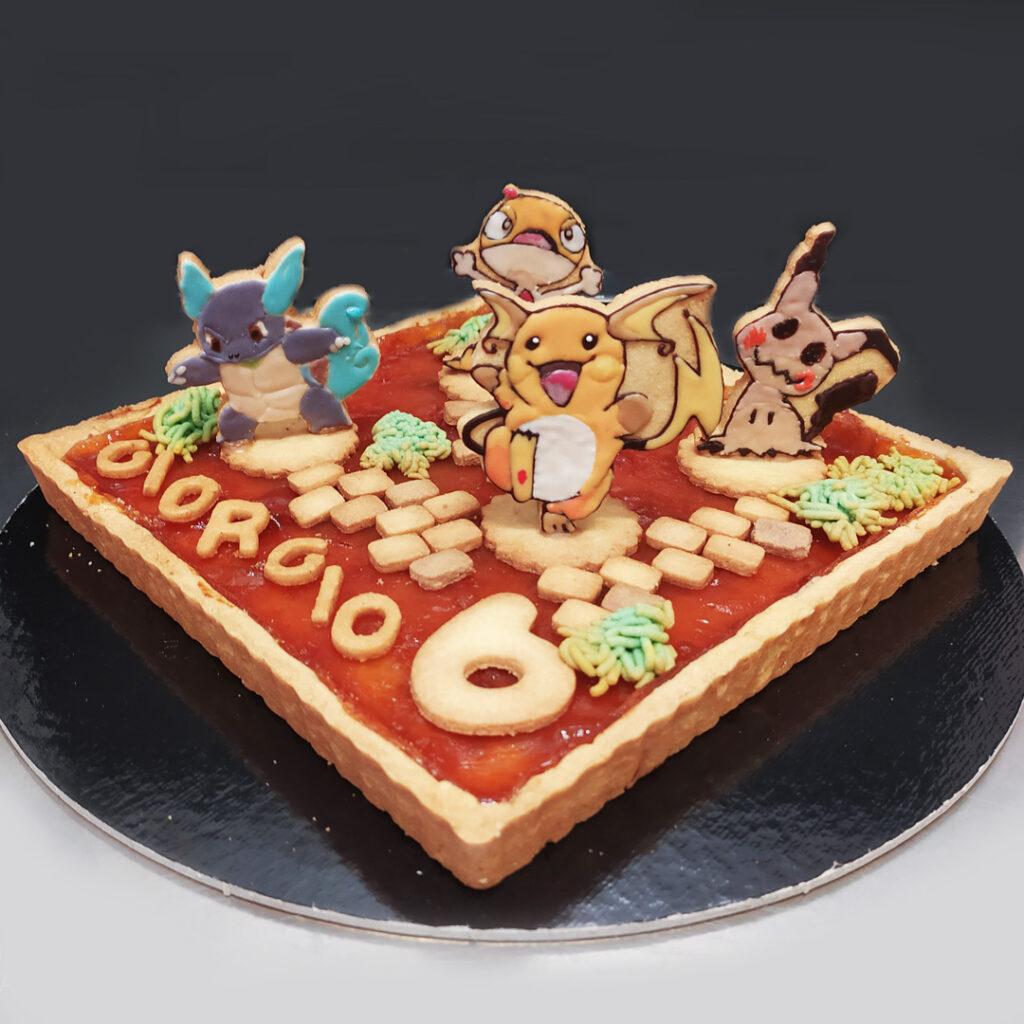 crostata albicocca con pokemon in frolla